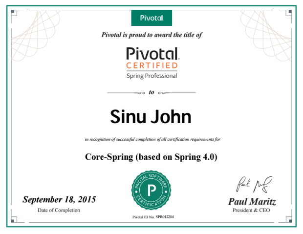 Certified Spring Professional | Sinu John\'s Blog(Archived)